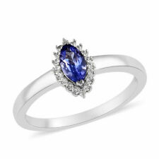 Tanzanite, Natural White Zircon Halo Ring in Platinum Over Sterling Silver 7