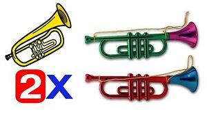 2 x Kinder Trompete 33 CM Spielzeug Instrument Krachmacher Blasinstrument Tröte