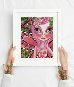 Strawberry Butterfly Fairy Art Print SIGNED & dated by artist Jaz Higgins Girl