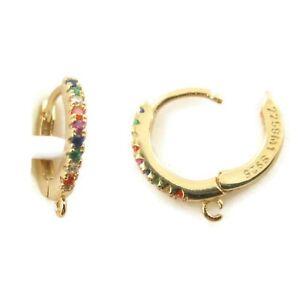 orecchini cerchio zirconi multicolor argento 925 placcato oro giallo 12 mm 2 pz.