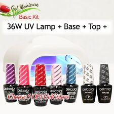 GEL MANICURE BASIC KIT: 36W UV LAMP Pro + Base Top + Choose 5 OPI GelColor SET