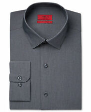 $95 ALFANI Men FITTED GRAY STRIPE LONG-SLEEVE BUTTON DRESS SHIRT 16-16.5 34/35 L