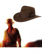 Indiana Jones Men's Water Repellent Wool Felt Fedora Brown Large Crushable New