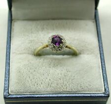 Pretty 18ct Gold Amethyst And Diamond Cluster Ring