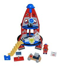 WOODEN SPACE ROCKET SHIP TOY PLAY SET