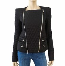 BALMAIN Women's Quilted Black Cotton Motorcycle Biker Jacket  38 US 6 NEW