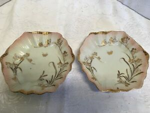 Rare Antique Porcelain Small Plates Gilded Fluted Ribbed Dish Edge Asian Stamp