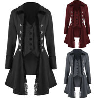 Womens Coat Long Jacket Black Gothic Steampunk Lolita VTG Lace Ladies Tailcoat