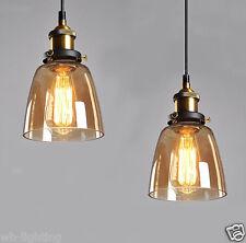 Amber Vintage Industrial Bell Glass Shade Pendant Lamp Hanging Pendant Light LED