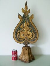 Thai Buddhistic Flame-Shaped Wooden Screen Carved With Buddha On Both Sides