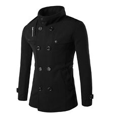 Mens Autumn Winter Double Breasted Woolen Overcoat Trench Coat Jacket Outwear