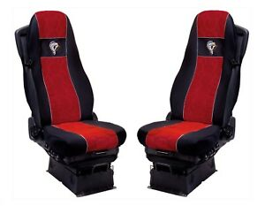 Seat Cover Fabric Velour tailored Truck Volvo FH 2013 -.. 2 SEAT BELTS Red