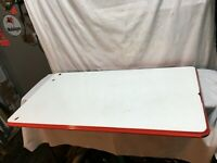 Vtg 1940 Enamel Metal Table Top White Red Porcelain 40 1/4 x 25in Farm Country