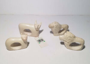 Set Of 4 Carved Soapstone African Cat Lion Safari Napkin Rings Made in Kenya