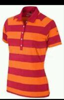 Nwt $70 Nike Womens Bold Stripe Polo Golf Polo 518076 Size XL Orange Red