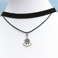 NEW Sailor Anchor Wheel Pendant Charm Black Double Choker Necklace Chain Jewelry