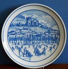 Porcelain Cobalt Blue & White collectionneurs plaque scène d'hiver par Hutschenreuther.