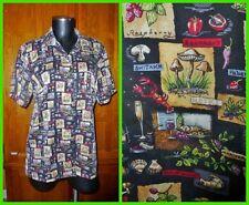 RARE Vtg NICOLE MILLER Mushroom Food Limited Print SILK dress Shirt BLOUSE L