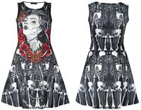 Unique Sugar Skull Mexican Skeleton Guns Bones And Roses Print Alternative Dress