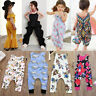 US Newborn Kids Baby Girls Floral Romper Playsuit Clothes Outfits Sunsuit ash
