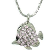 "FISH MADE WITH SWAROVSKI CRYSTAL PINK AQUARIUM OCEAN PENDANT NECKLACE 18"" CHAIN"