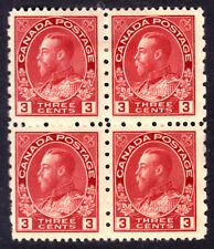 CANADA #184 3c CARMINE BLOCK/4, 1931 KGV PROVISIONAL, F, MINT HINGED