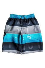 Quiksilver Big Boys L Board Swim Trunks Shorts Word Colorblock Blue Gray Lined