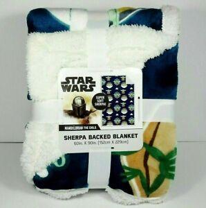 Disney Star Wars Mandalorian The Child Grogu Yoda Super Soft Sherpa Twin Blanket