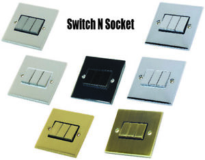 Decorative Metal 3 Gang Light Switch 10 Amp 2 Way - Various finishes