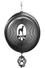 Swen Products Saluki Dog Circle Black Swirly Combo Metal Wind Spinner