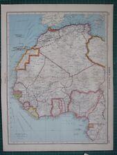 1952 LARGE MAP ~ AFRICA NORTH WEST ~ SUDAN CANARY ISLANDS LIBERIA SIERRA LEONE