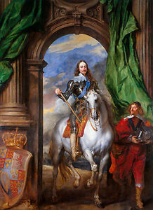 Anthony van Dyck - Charles I with M. de St Antoine, Horse Art, Canvas Print