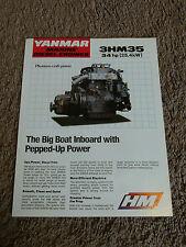 Yanmar Marine Diesel Engine 3HM35 34hp Dealer Sales Brochure Sheet Specification