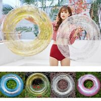 Transparent Inflatable Swim Tube Glitter Round Swimming Ring for Summer Pool