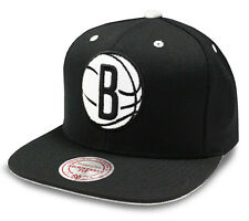 Brooklyn Nets Black Cap NBA Mitchell & Ness Velour Black Snapback Cap Brand New
