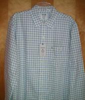 NWT NEW mens size L white blue green plaid IZOD l/s casual shirt