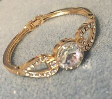 Formal/Bridal Gold Filled Clear Glass Crystal Rhinestone Hinged Bangle Bracelet