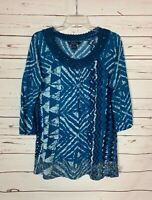 Lucky Brand Women's L Large Blue Lace 3/4 Sleeves Boho Spring Top Shirt Blouse