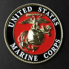 USMC MARINES MARINE CORPS EMBLEM LARGE METAL ENAMEL MOUNTABLE MEDALLION 4 INCHES