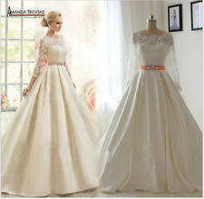 new collection lace sleeves dress bride with low back wedding dress Custom size