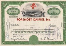 Stock certificate Foremost Dairies, Inc. dated 1966