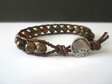 Great Gift Men's Brown Leather Tiger's Eye Bracelet with buffalo button