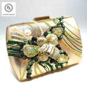 GOLD Evening Clutch Leather Emerald Marble Stones Crystals Pearls Designer