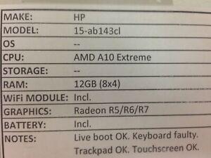 HP 15-ab143cl *Parts/Repair* A10/12GB/BATT - No OS/HDD/ CHRG