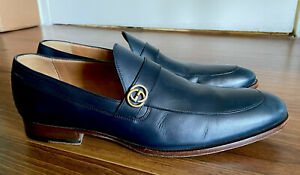 Men's Gucci Leather Loafer Shoes with Interlocking G