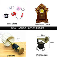 1:12 Vintage Phonograph/Telephone/Clock/ Desk Lamp Dollhouse Miniature Decor DIY