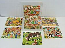 Vtg Childrens Wood Litho Paper12 Block Puzzle Case W Germany Farm Animal Dog Cat