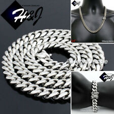 "24""MEN Stainless Steel 14mm Silver Miami Cuban Curb Chain Bracelet Necklace*S154"