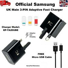 Official UK Main Fast Adaptive Charger + USB Cable for Samsung S6 S7 Edge Note 4