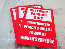 Customer Parking Only Pack of 3 Metal Safety Sign 300x225mm Fast Delivery